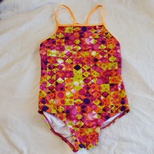 Speedo Girls One Piece Swimsuit Racerback Sport 12